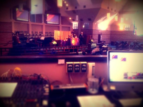 A view from the sound booth at our combined worship service on March 3, 2013.