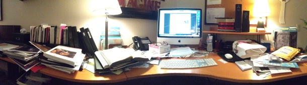 The panorama shot distorts the actual shape of my desk. However, it does show the ministry clutter I seem to have accumulated.